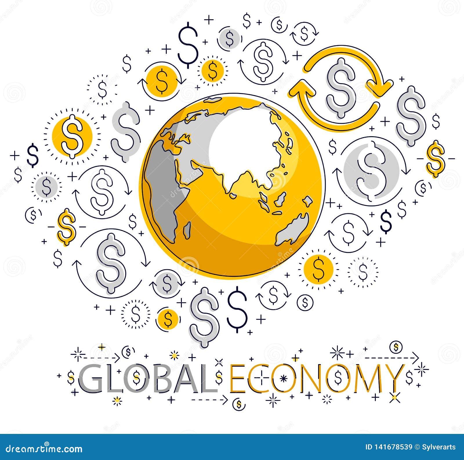 Η σφαιρική επιχειρησιακή έννοια, πλανήτης Γη με τα εικονίδια δολαρίων έθεσε, διεθνής οικονομία, ανταλλαγή νομίσματος, παγκόσμιο δ