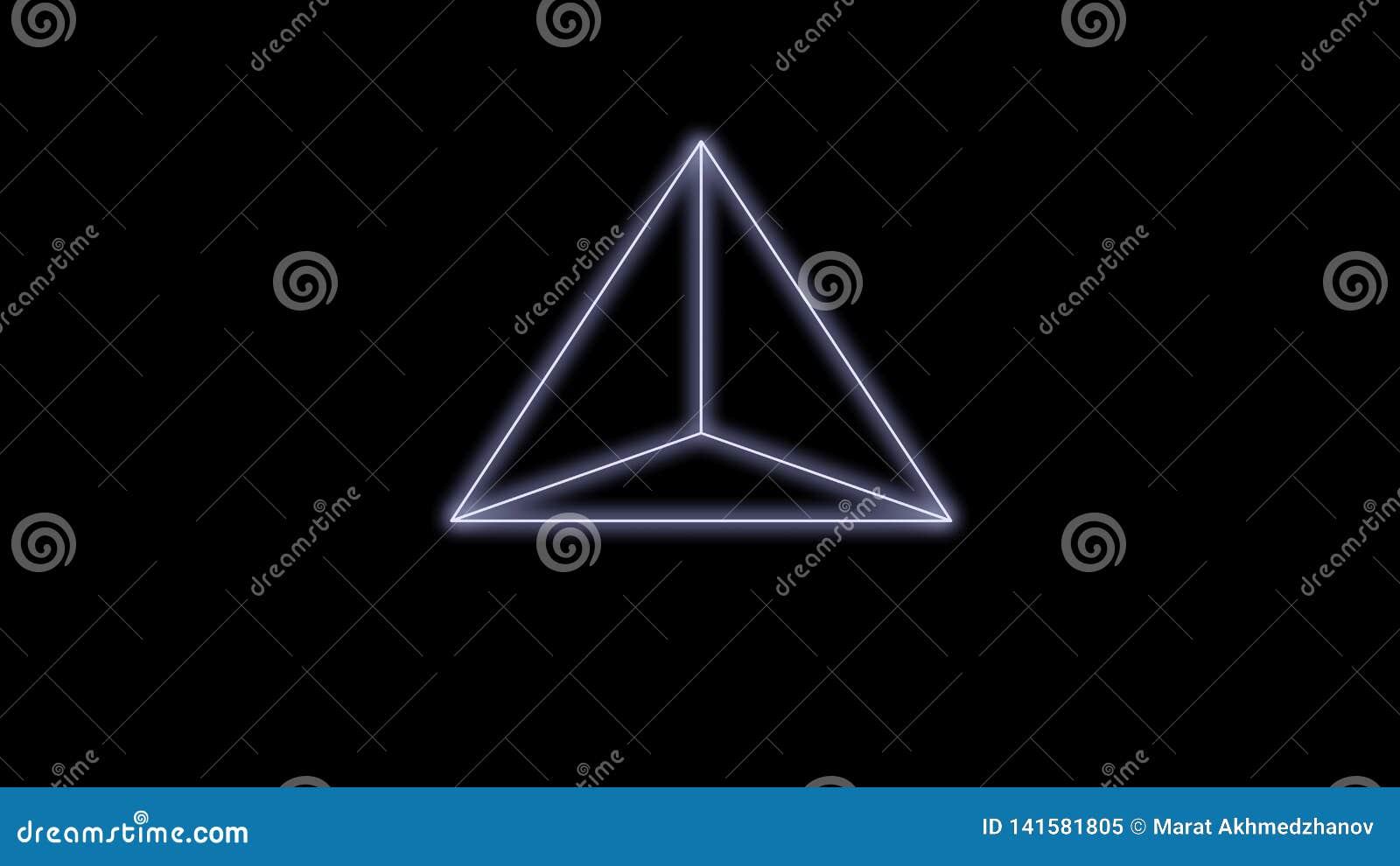 Η πυραμίδα Synthwave σε ένα μαύρο υπόβαθρο τρισδιάστατο δίνει