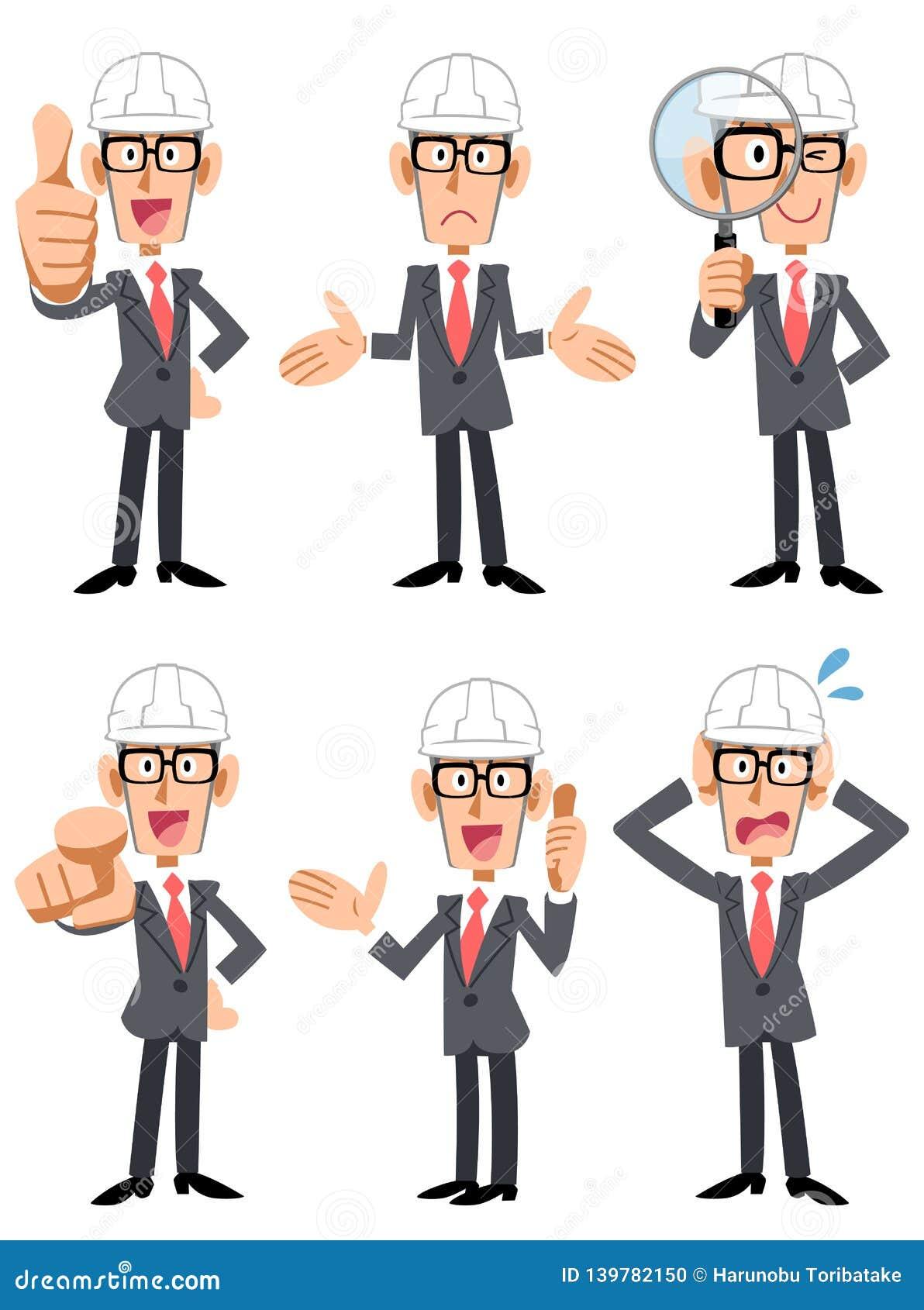 6 θέτουν και χειρονομίες ενός επιχειρηματία που φορά ένα κράνος και που φορά τα γυαλιά