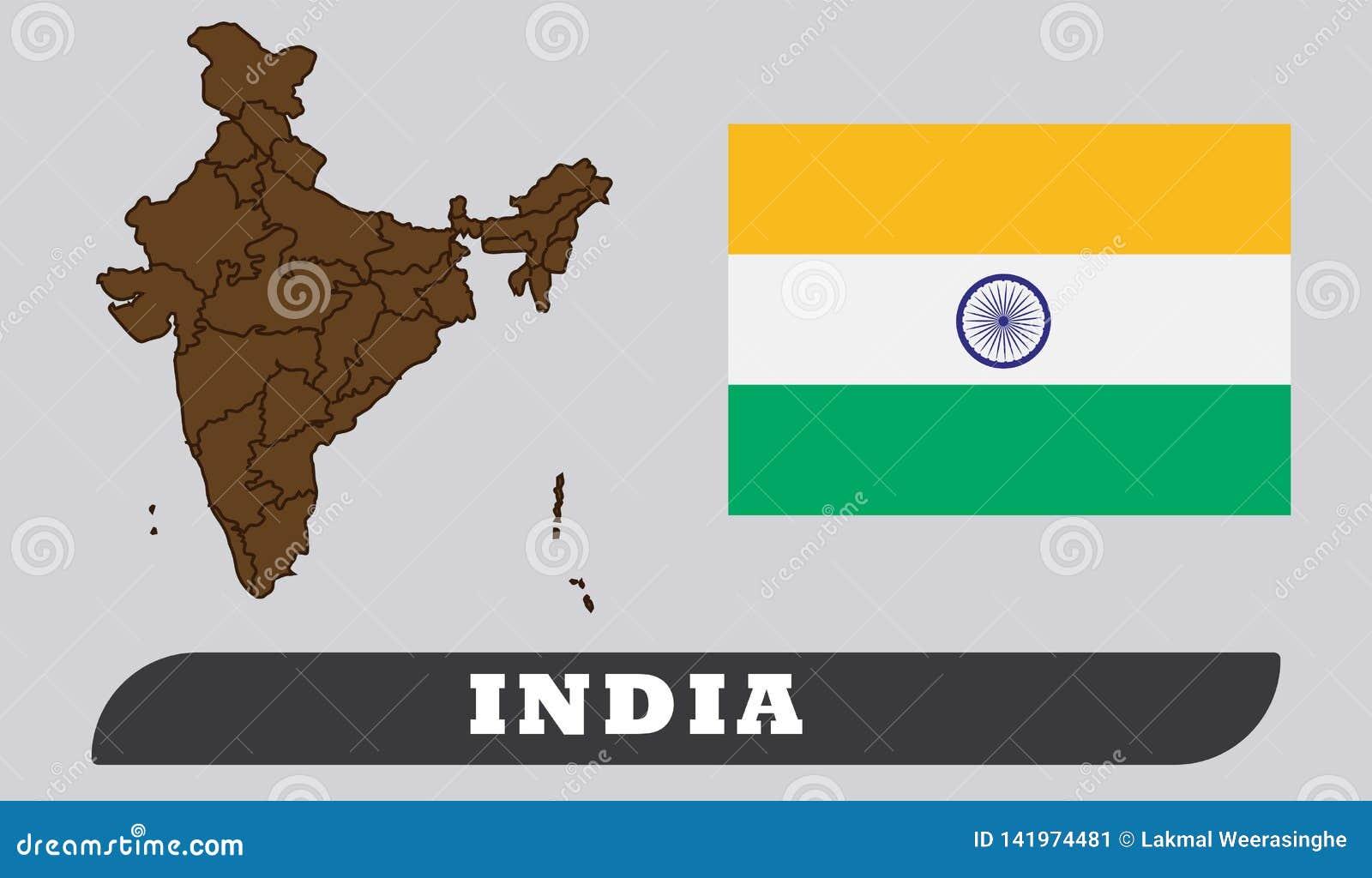 Ινδικοί χάρτης και σημαία