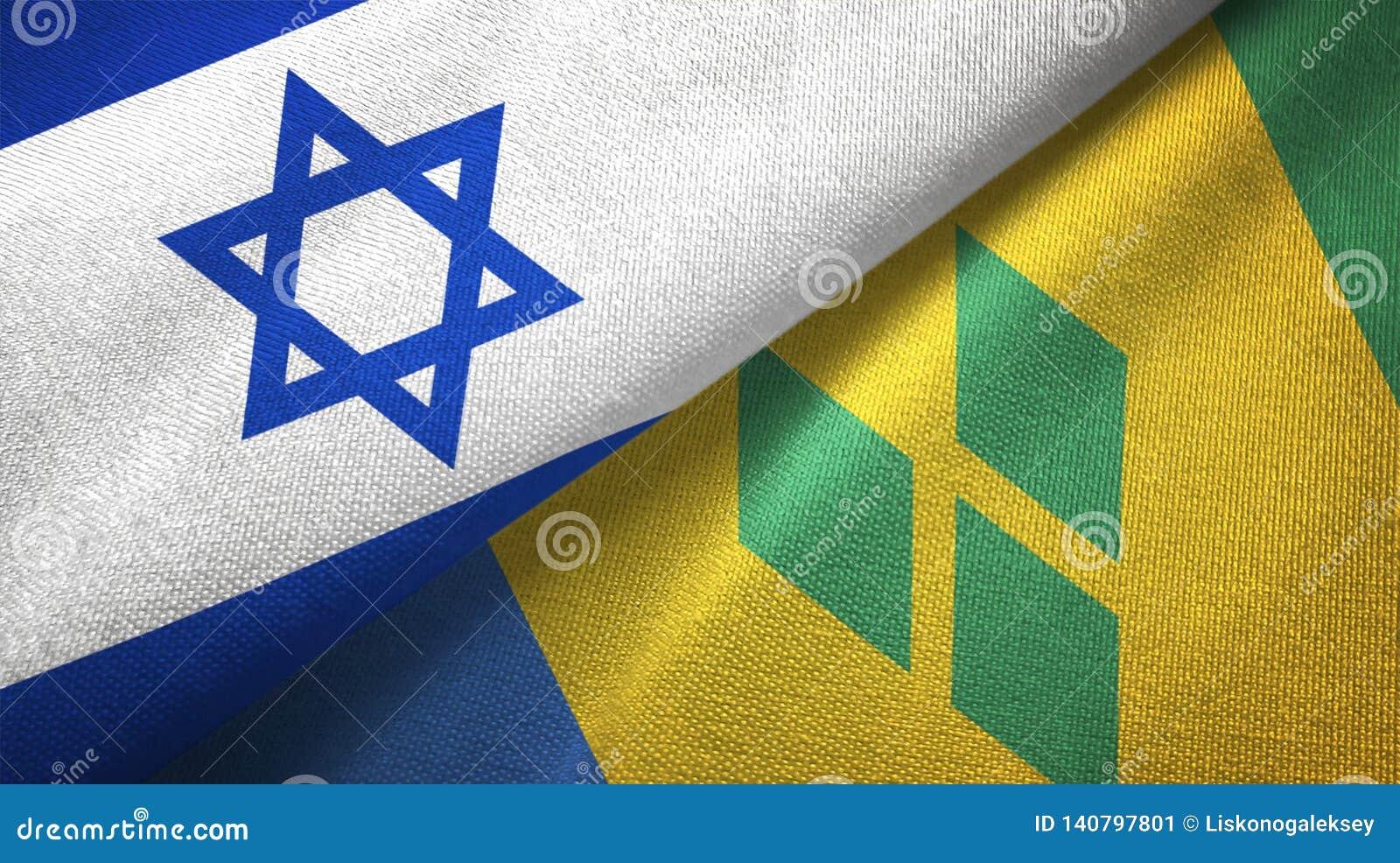 Ισραήλ και Άγιος Βικέντιος και Γρεναδίνες δύο υφαντικό ύφασμα σημαιών