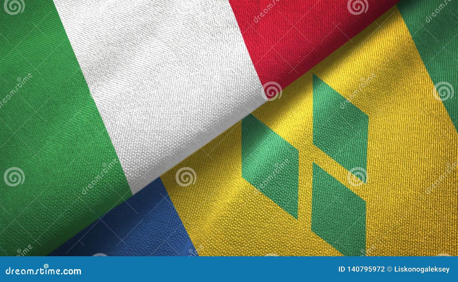 Ιταλία και Άγιος Βικέντιος και Γρεναδίνες δύο υφαντικό ύφασμα σημαιών