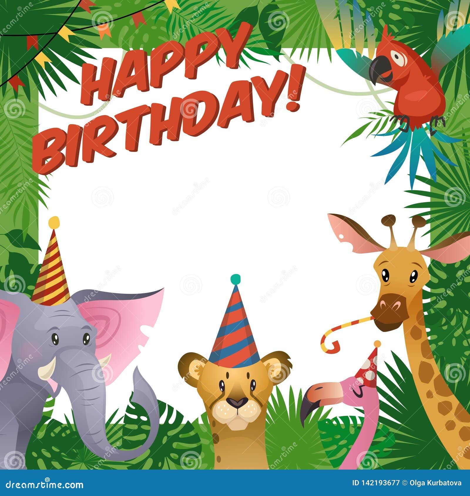 Κάρτα κομμάτων ζώων ζουγκλών Χρόνια πολλά το ντους μωρών που χαιρετά τον τροπικό ζωολογικό κήπο γιορτάζει το πρότυπο πρόσκλησης π