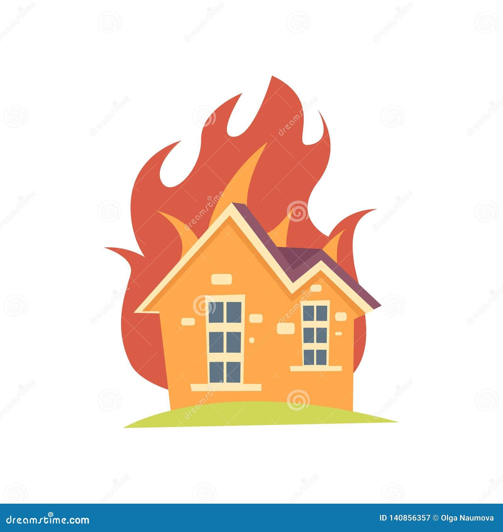 Καίγοντας σπίτι με την πυρκαγιά έξω από τους τοίχους που απομονώνονται στο άσπρο υπόβαθρο