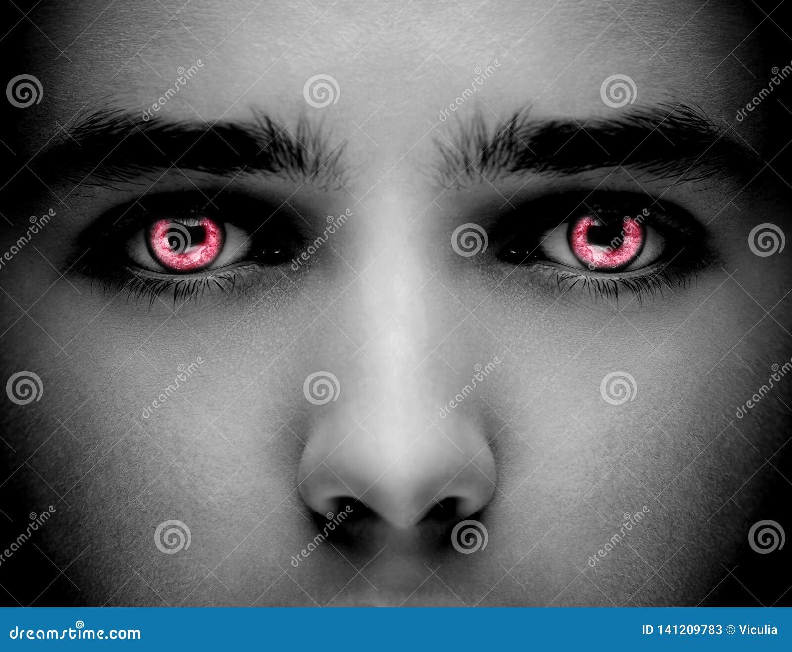 Κακά μαύρα αλλοδαπά βαμπίρ ή zombie μάτια Κλείστε αυξημένος