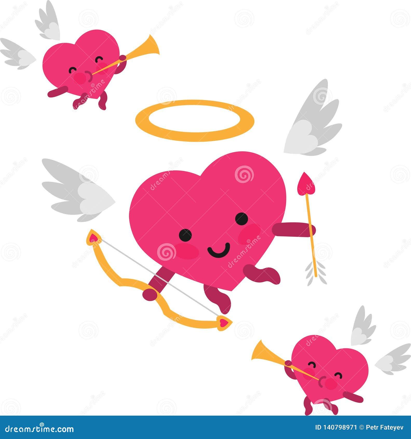 Καρδιά cupid και άγγελοι σαλπίγγων για την ημέρα βαλεντίνων
