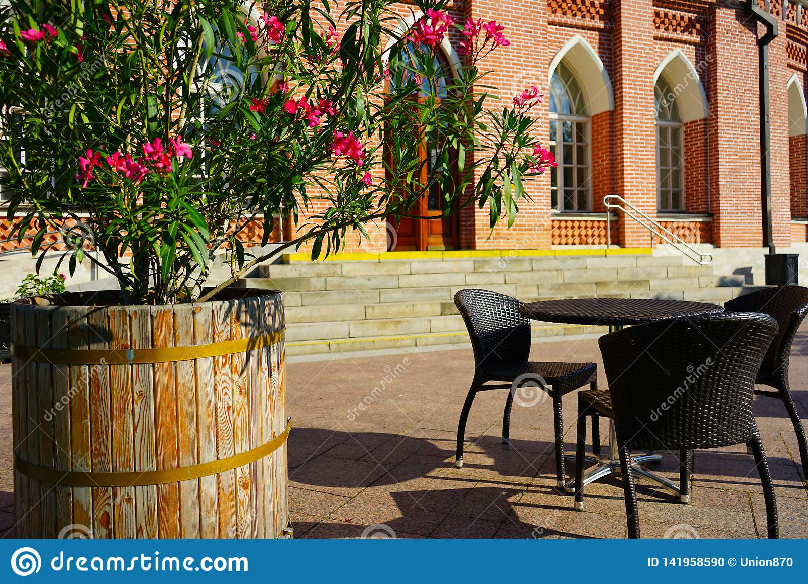 Καφές θερινών οδών με τα λουλούδια στο υπόβαθρο του ιστορικού κτηρίου
