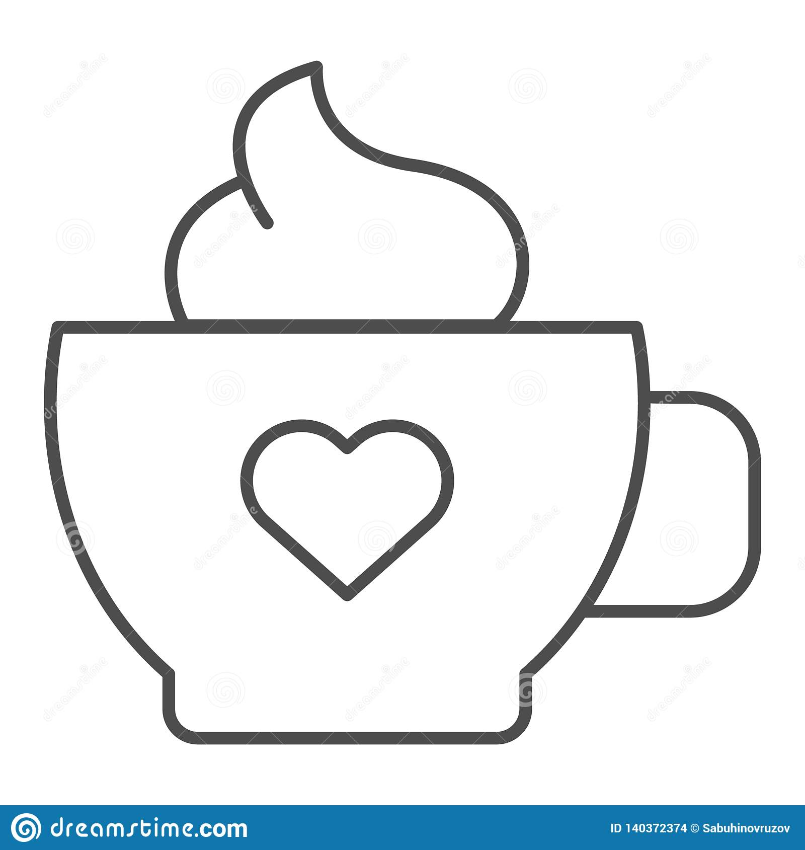Καφές με το λεπτό εικονίδιο γραμμών κρέμας Κούπα του καφέ τη διανυσματική απεικόνιση καρδιών που απομονώνεται με στο λευκό Ύφος π