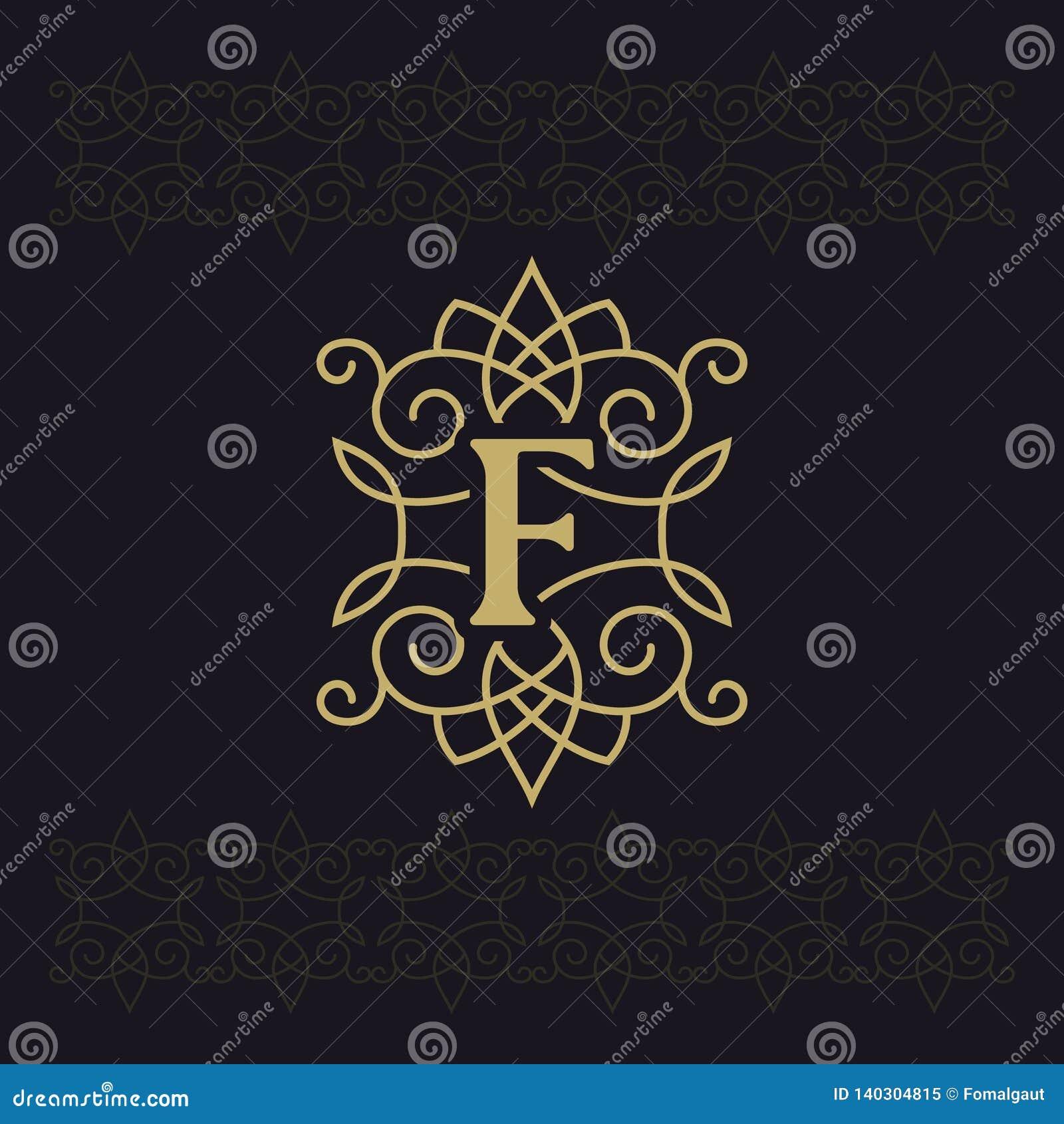 Κεφαλαίο γράμμα Φ Όμορφο μονόγραμμα Κομψό λογότυπο καλλιγραφικό σχέδιο Έμβλημα πολυτέλειας Εκλεκτής ποιότητας διακόσμηση Απλό ύφο