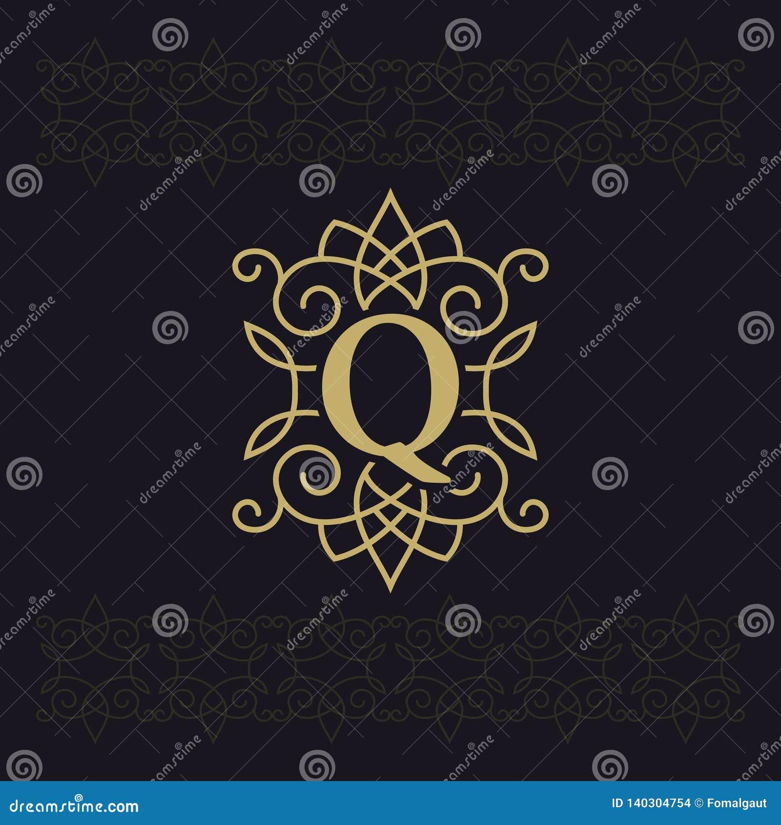 Κεφαλαίο γράμμα Q Όμορφο μονόγραμμα Κομψό λογότυπο καλλιγραφικό σχέδιο Έμβλημα πολυτέλειας Εκλεκτής ποιότητας διακόσμηση Απλό ύφο