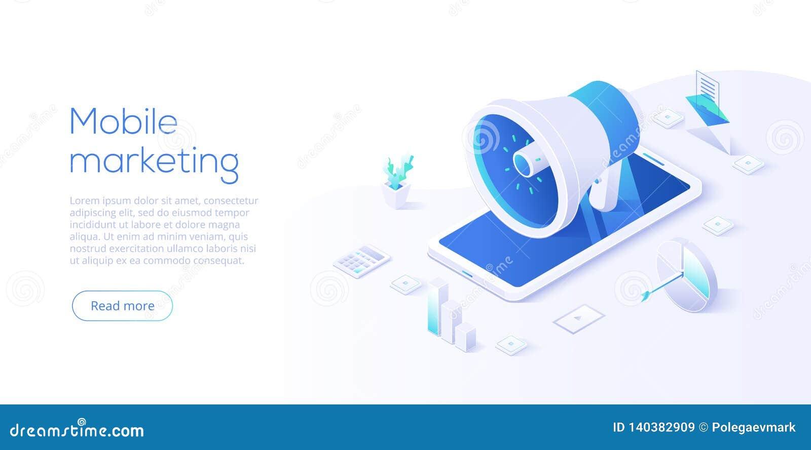 Κινητή διανυσματική επιχειρησιακή απεικόνιση μάρκετινγκ στο isometric σχέδιο Σε απευθείας σύνδεση έννοια προώθησης Διαδικτύου με