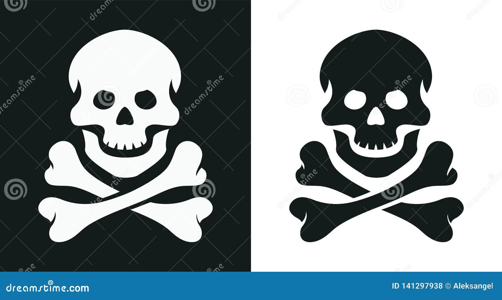 Κρανίο και κόκκαλο ευχάριστα Roger σύμβολο πειρατών επίσης corel σύρετε το διάνυσμα απεικόνισης