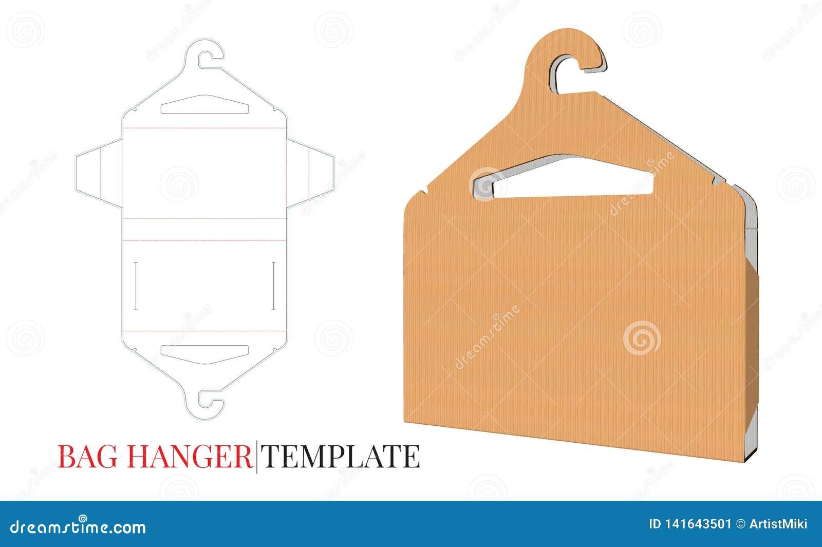 Κρεμάστρα υφασμάτων και πρότυπο τσαντών υφασμάτων Διάνυσμα με τα τεμαχισμένα/στρώματα περικοπών λέιζερ Κιβώτιο και κρεμάστρα τσαν