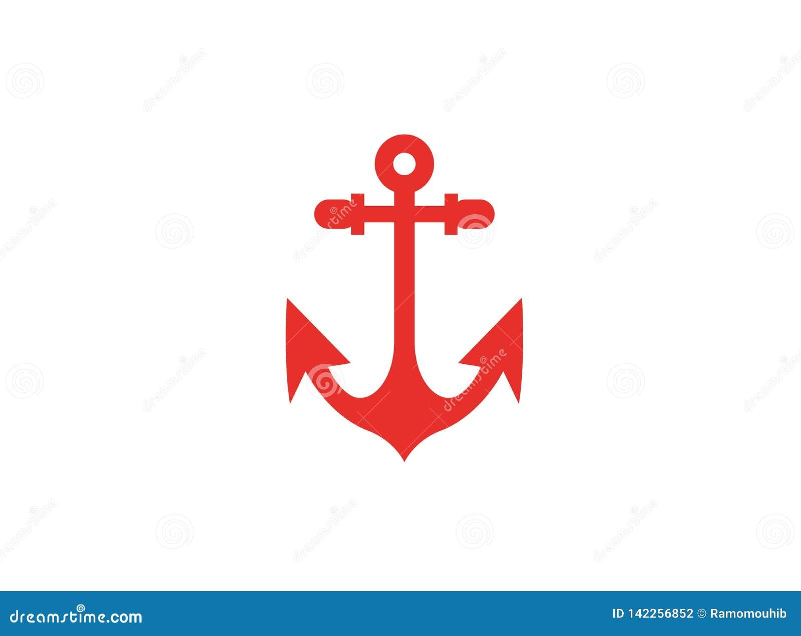 Κόκκινη άγκυρα για το λογότυπο βαρκών και γιοτ