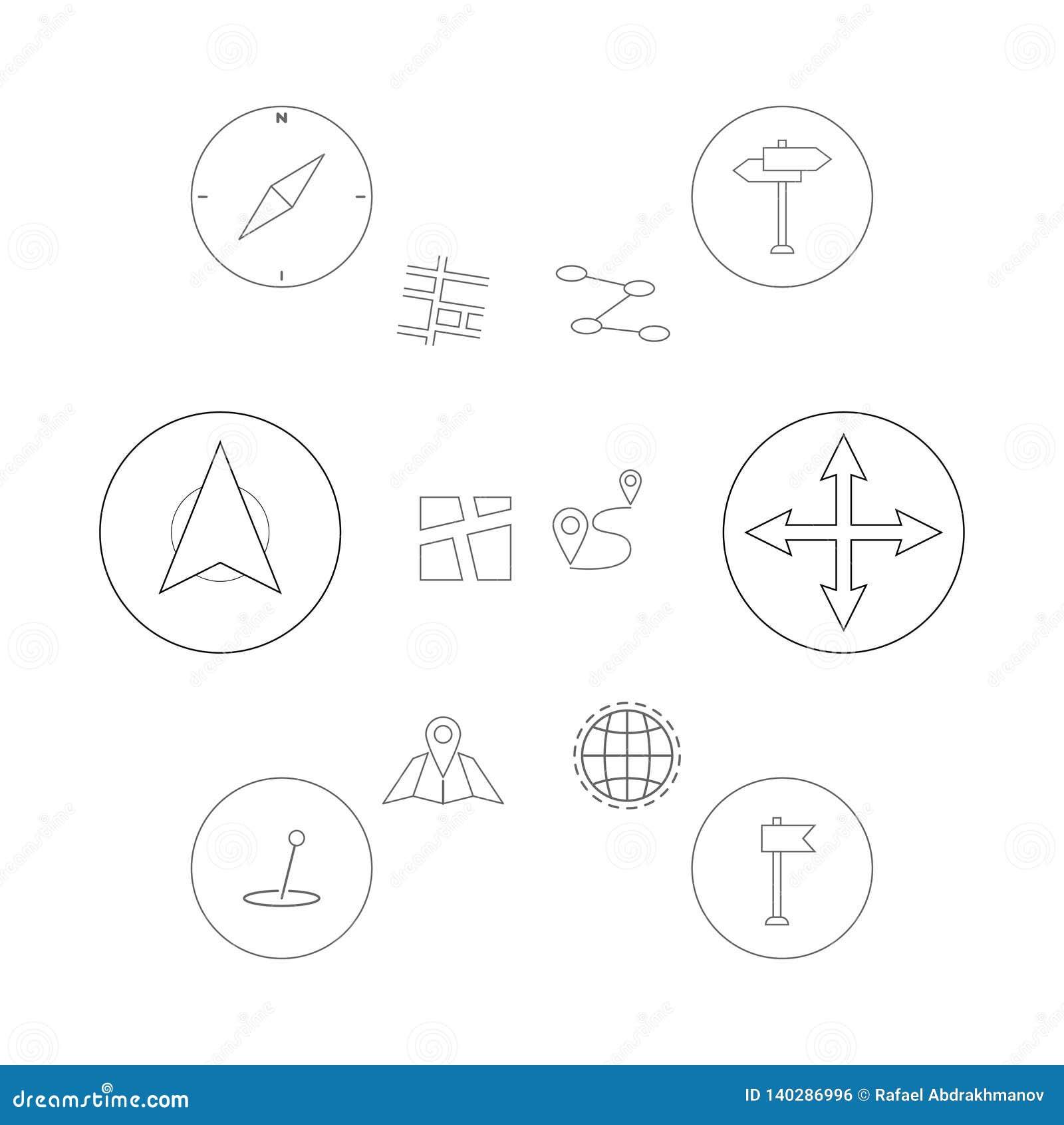 Λεπτά εικονίδια γραμμών καθορισμένα Θέση, ναυσιπλοΐα και μεταφορά geo ΠΣΤ Εικονίδια καρφιτσών δεικτών χαρτών EPS 10 διανυσματική