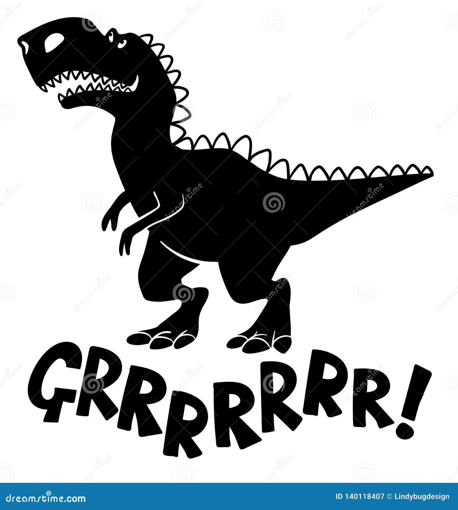Μαύρη σκιαγραφία ενός δεινοσαύρου τύπων τ -τ-rex