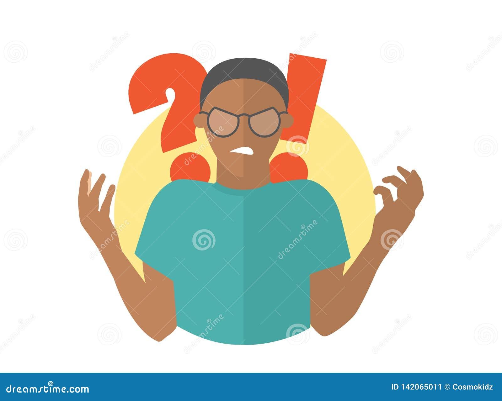Μαύρο άτομο στα γυαλιά Τύπος στην οργή Επίπεδο εικονίδιο σχεδίου
