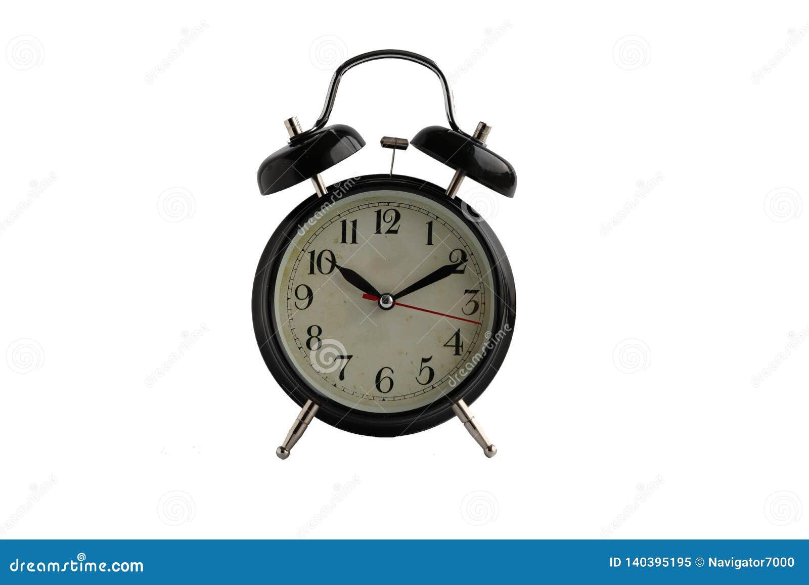 Μαύρο αναδρομικό ξυπνητήρι που απομονώνεται στο άσπρο υπόβαθρο