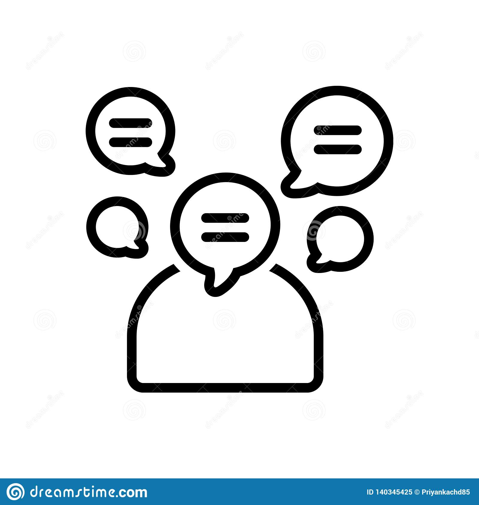 Μαύρο εικονίδιο γραμμών για ομιλητικός, voluble και φλύαρος