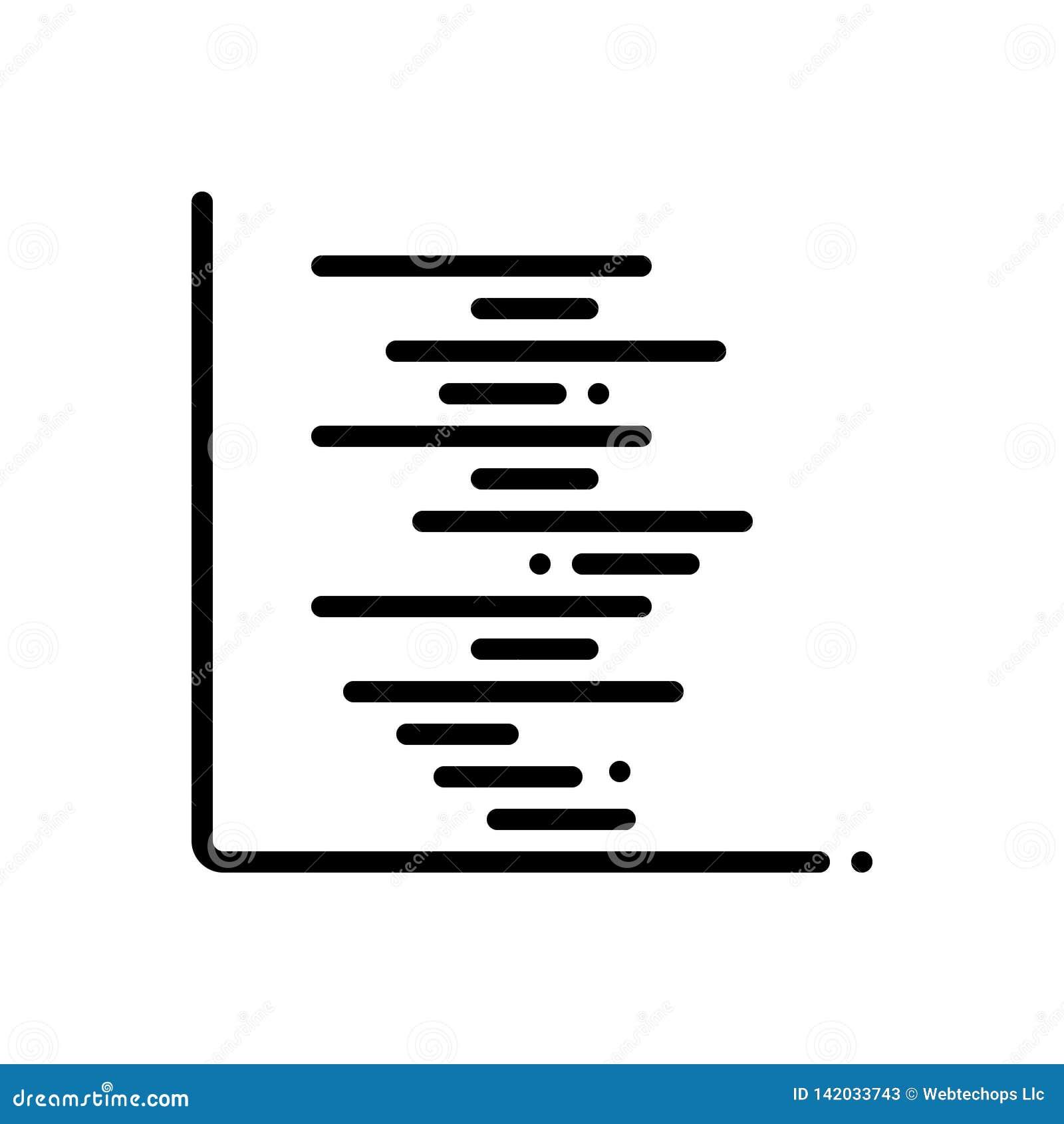 Μαύρο εικονίδιο γραμμών για Gant, το διάγραμμα και την υπόδειξη ως προς το χρόνο