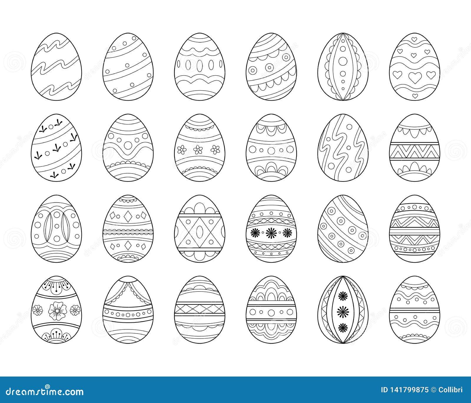 Μαύρο σύνολο αυγών Πάσχας γραμμών Διακοσμητική περίκομψη συλλογή αυγών