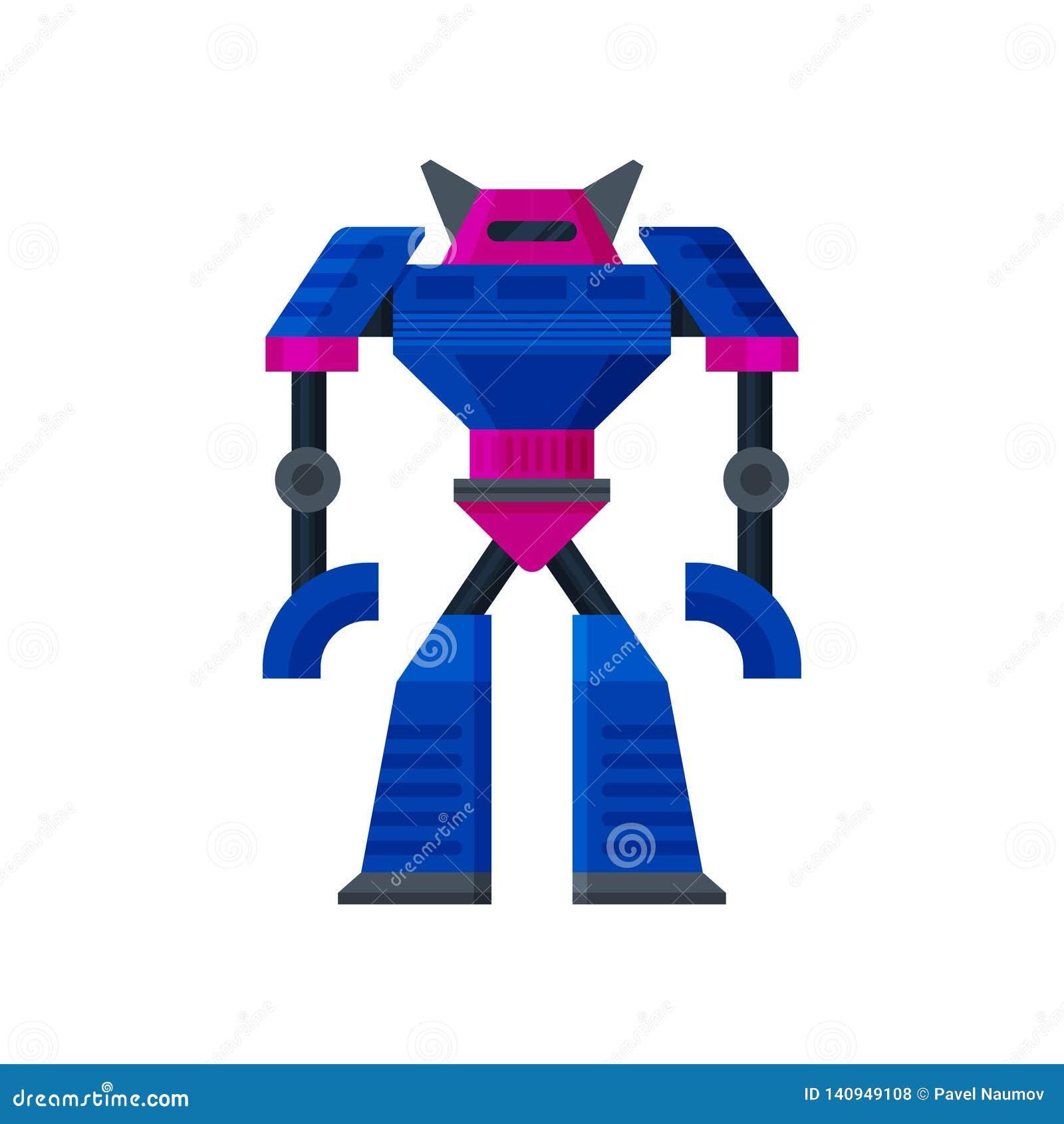 Μεγάλη στάση μετασχηματιστών χάλυβα ρόδινος-μπλε τεχνητή νοημοσύνη Ρομπότ humanoid μετάλλων Επίπεδο διανυσματικό εικονίδιο
