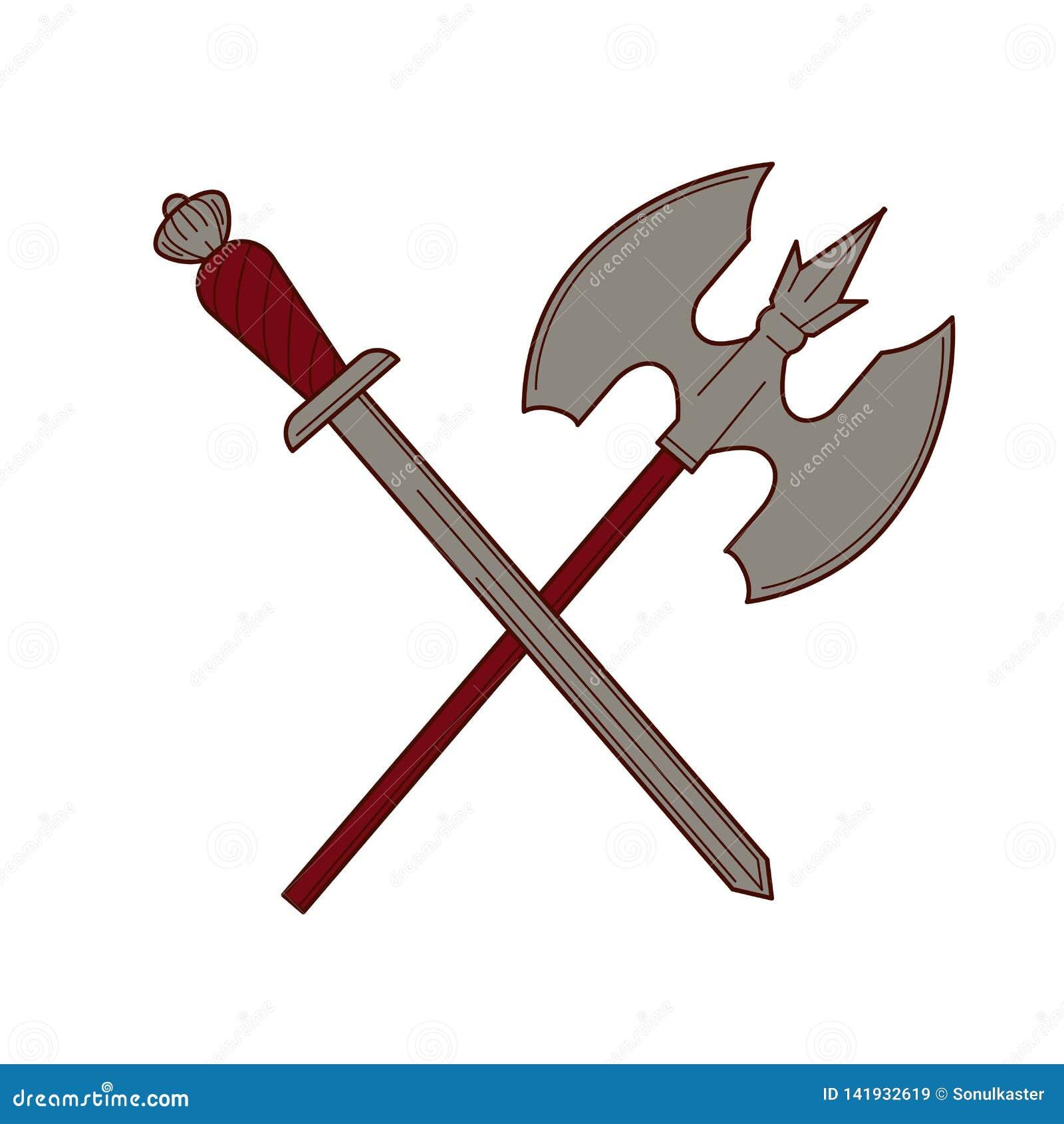 Ξίφος και απομονωμένος τσεκούρι εξοπλισμός στρατού βασιλιάδων όπλων ιπποτών