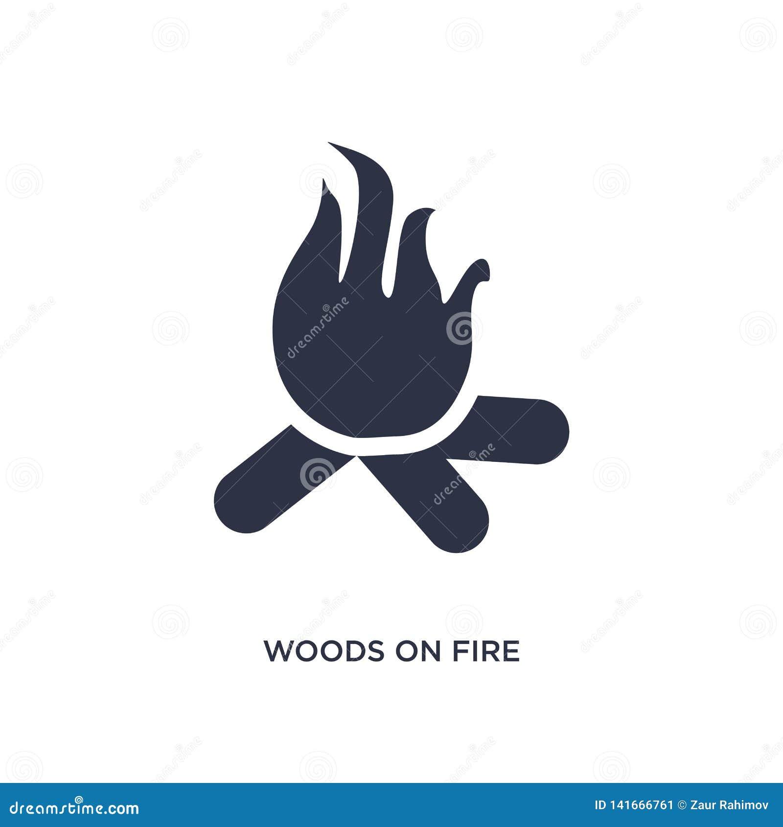 ξύλα στο εικονίδιο πυρκαγιάς στο άσπρο υπόβαθρο Απλή απεικόνιση στοιχείων από την έννοια μετεωρολογίας