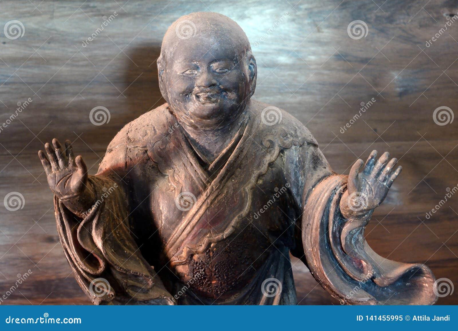 Ξύλινο άγαλμα ενός ιερέα, Κιότο, Ιαπωνία