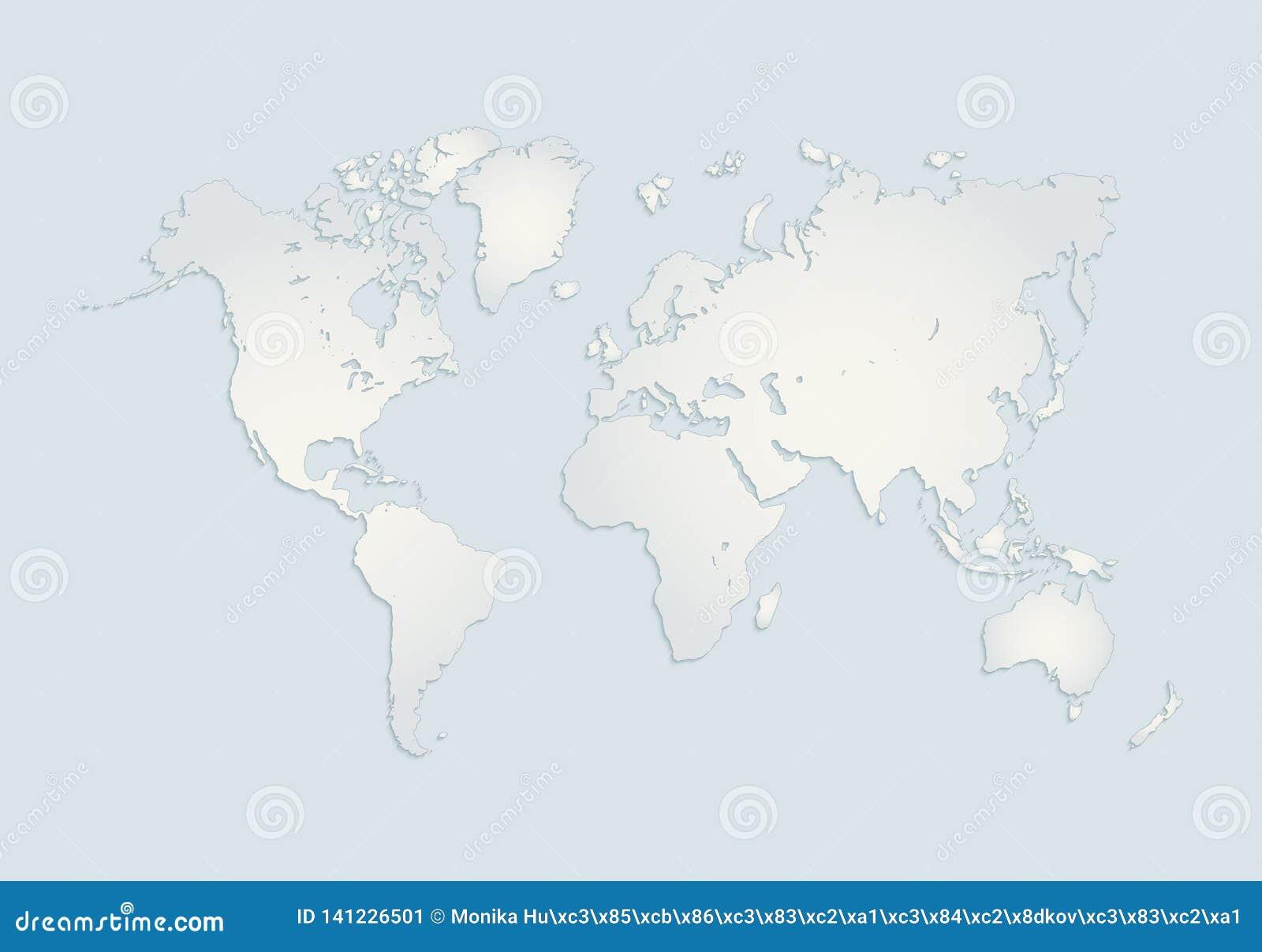Οι παγκόσμιες ήπειροι χαρτογραφούν, Αμερική, Ευρώπη, Αφρική, Ασία, Αυστραλία, μπλε τρισδιάστατο κενό της Λευκής Βίβλου