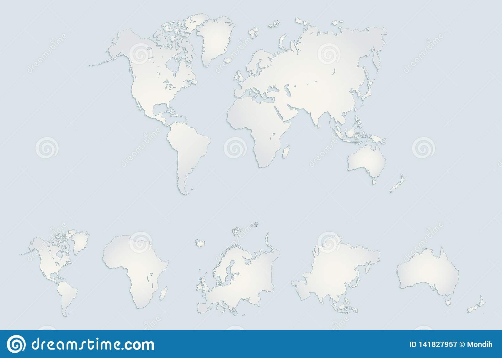 Οι παγκόσμιες ήπειροι χαρτογραφούν, Αμερική, Ευρώπη, Αφρική, Ασία, Αυστραλία, μπλε κενό της Λευκής Βίβλου