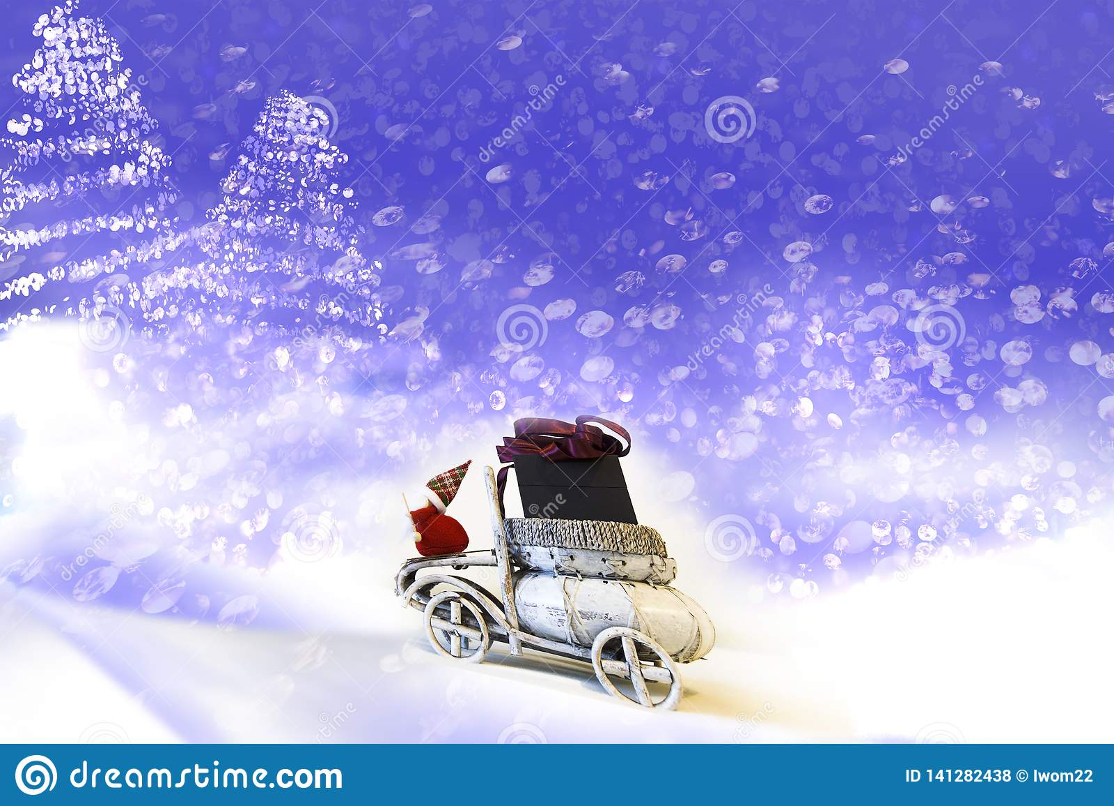 ουρανός santa του Klaus παγετού Χριστουγέννων καρτών τσαντών Άγιος Βασίλης στο αυτοκίνητο