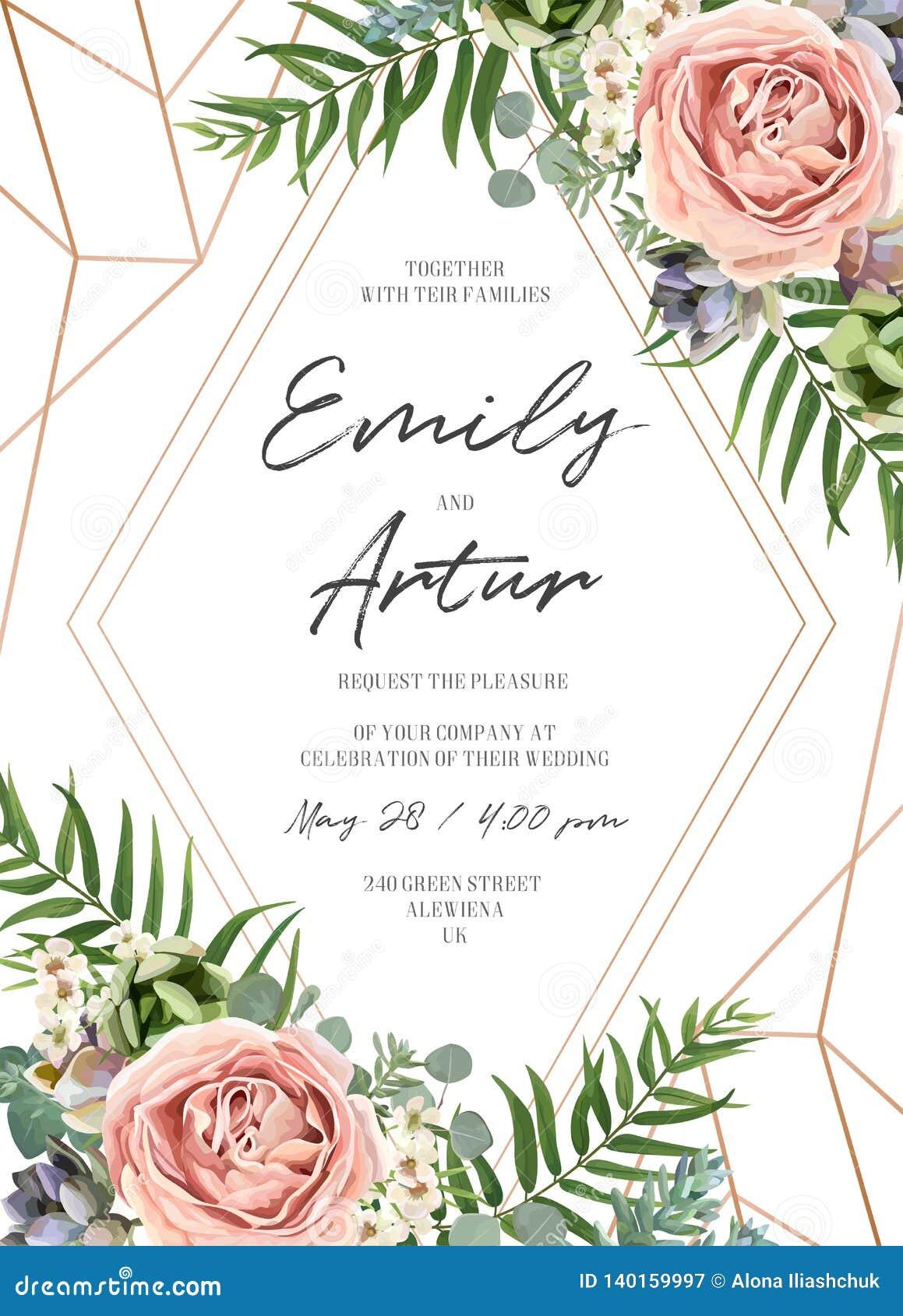 Ο γάμος floral προσκαλεί το σχέδιο καρτών πρόσκλησης Lavender ο ρόδινος κήπος αυξήθηκε, πράσινο τροπικό φύλλο φοινικών, succulent