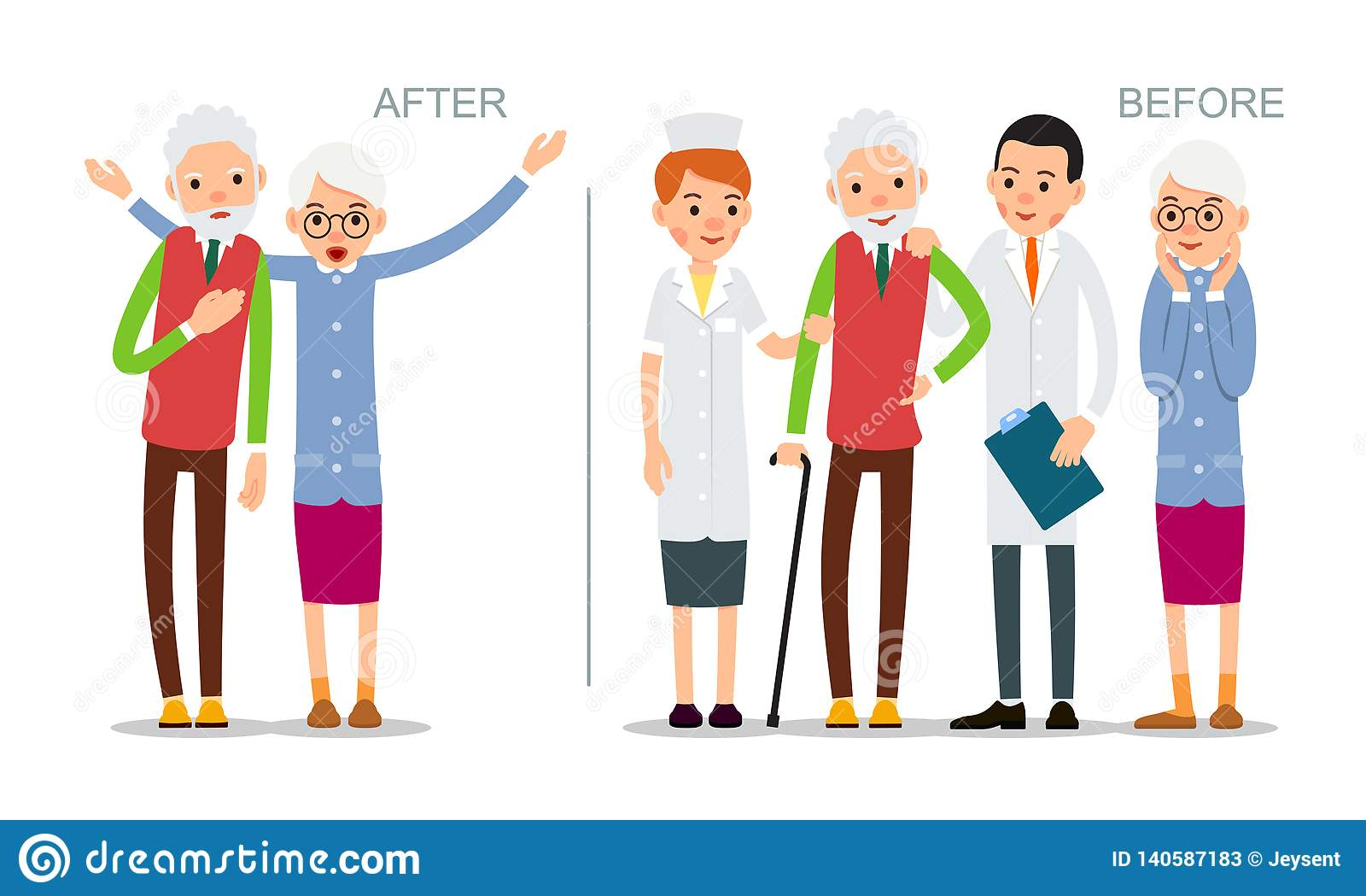 Ο ηλικιωμένος άνδρας είναι άρρωστος και αισθάνεται κακός Πρεσβύτερος πριν και μετά από την ασθένεια Ανακτημένος ασθενής που περιβ