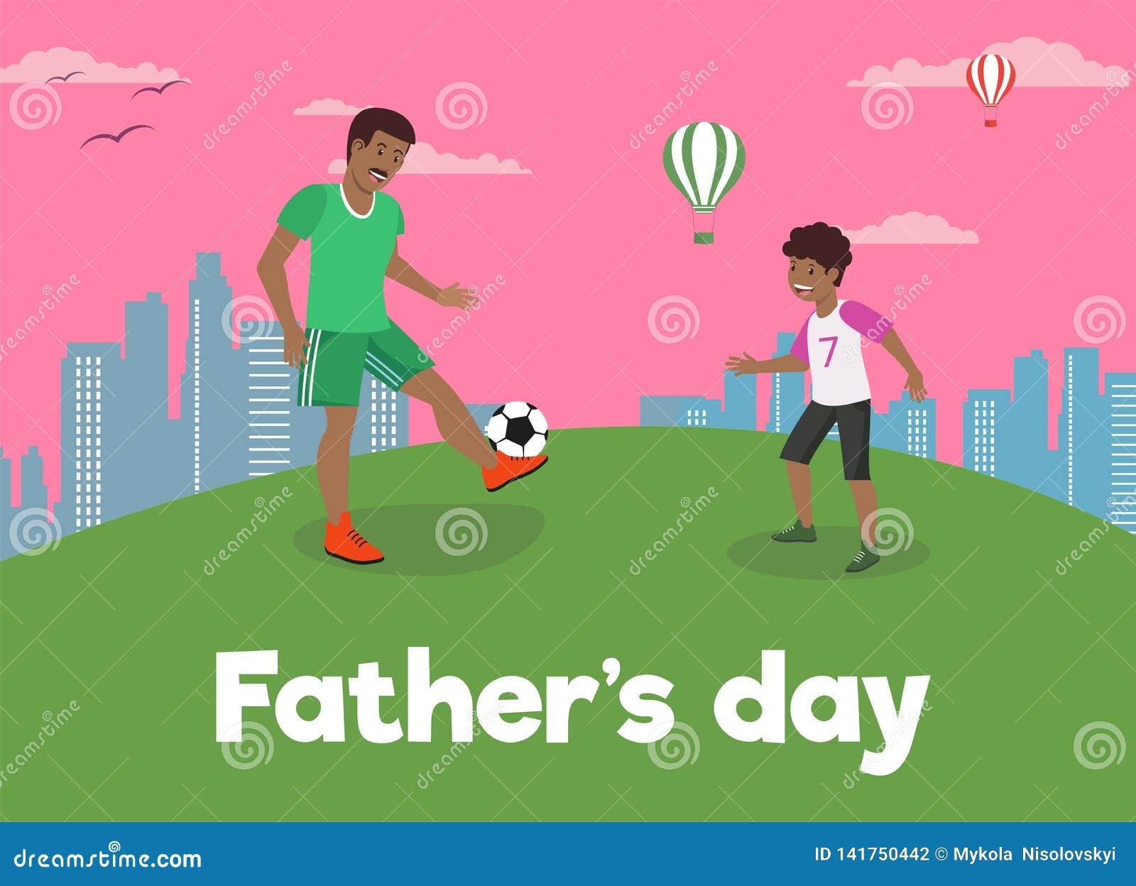 Ο διανυσματικός επίπεδος μπαμπάς ημέρας πατέρων εμβλημάτων αγαπά το γιο