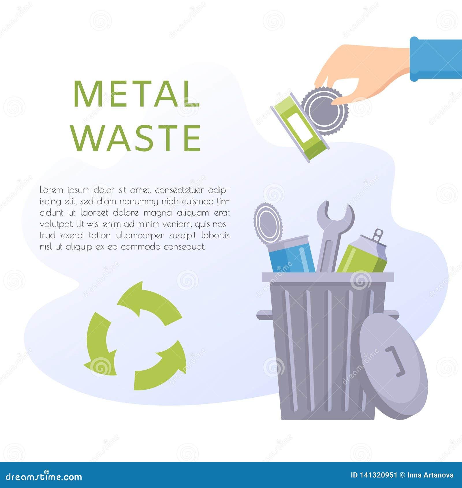 Διανυσματική απεικόνιση αποβλήτων μετάλλων Εγχώρια ουσία - τα κονσερβοποιημένα αγαθά, κασσίτεροι, κλειδιά, σόδα μπορούν, εργαλεία