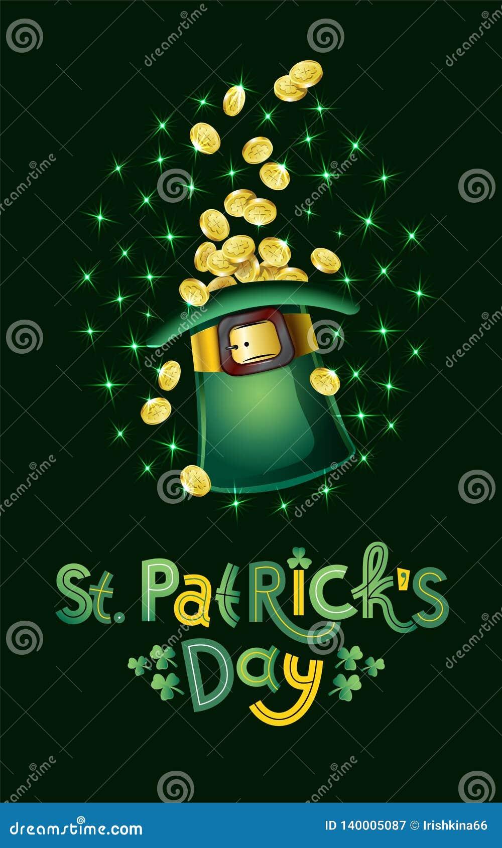 Διανυσματική κάρτα ημέρας Αγίου Patricks, σύνολο καπέλων των χρυσών νομισμάτων, θησαυρός Leprechaun Ευτυχής ημέρα του ST Patricks