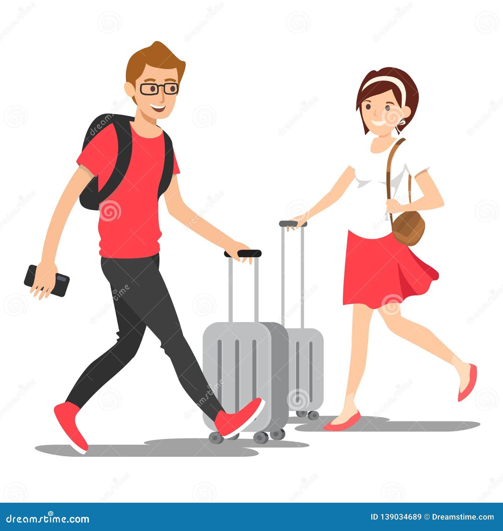 Διανυσματικοί νέοι με την τσάντα ταξιδιού