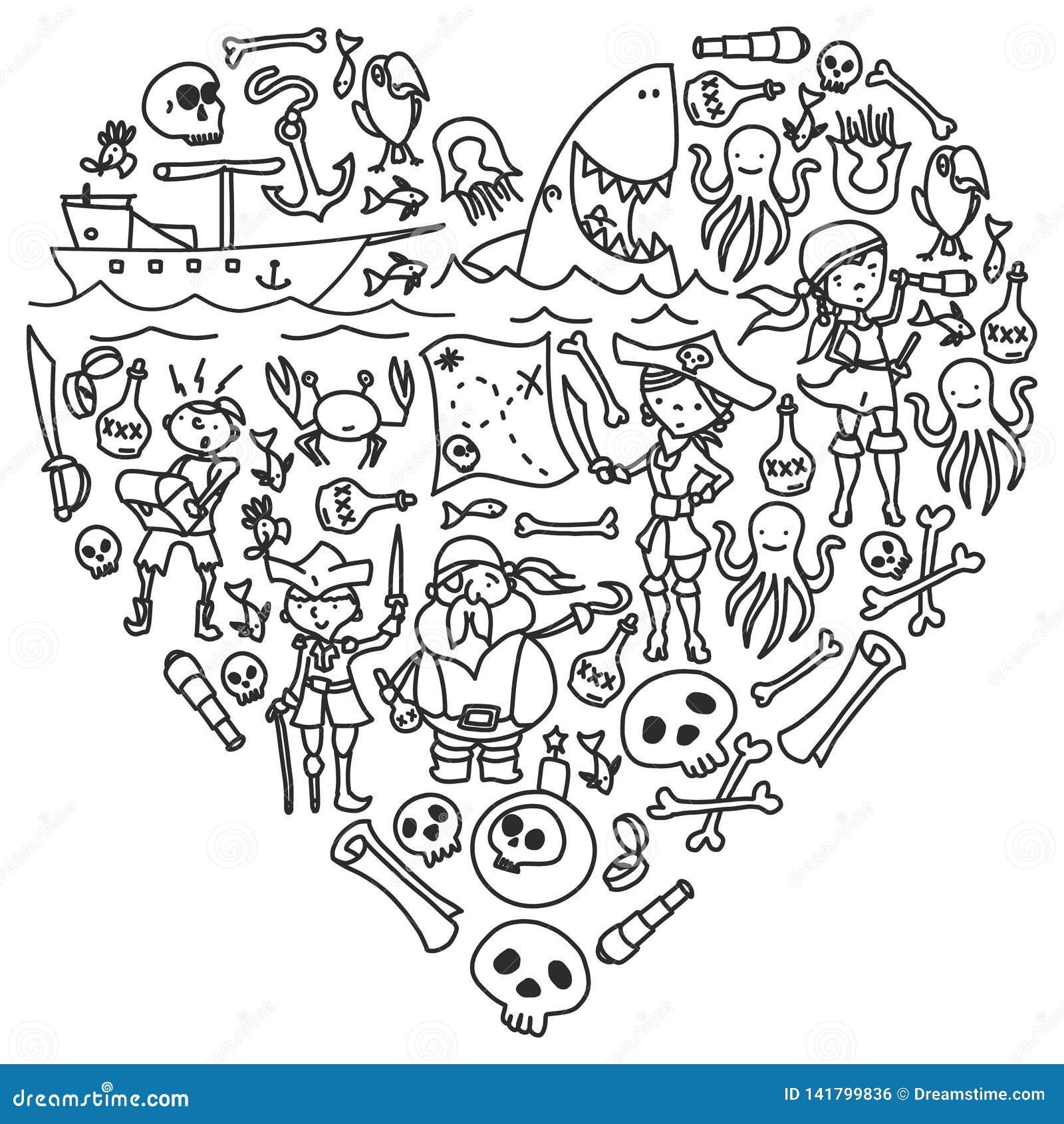 Διανυσματικό σύνολο εικονιδίων σχεδίων των παιδιών πειρατών στο ύφος doodle Χρωματισμένος, μαύρος μονοχρωματικός, εικόνες σε ένα