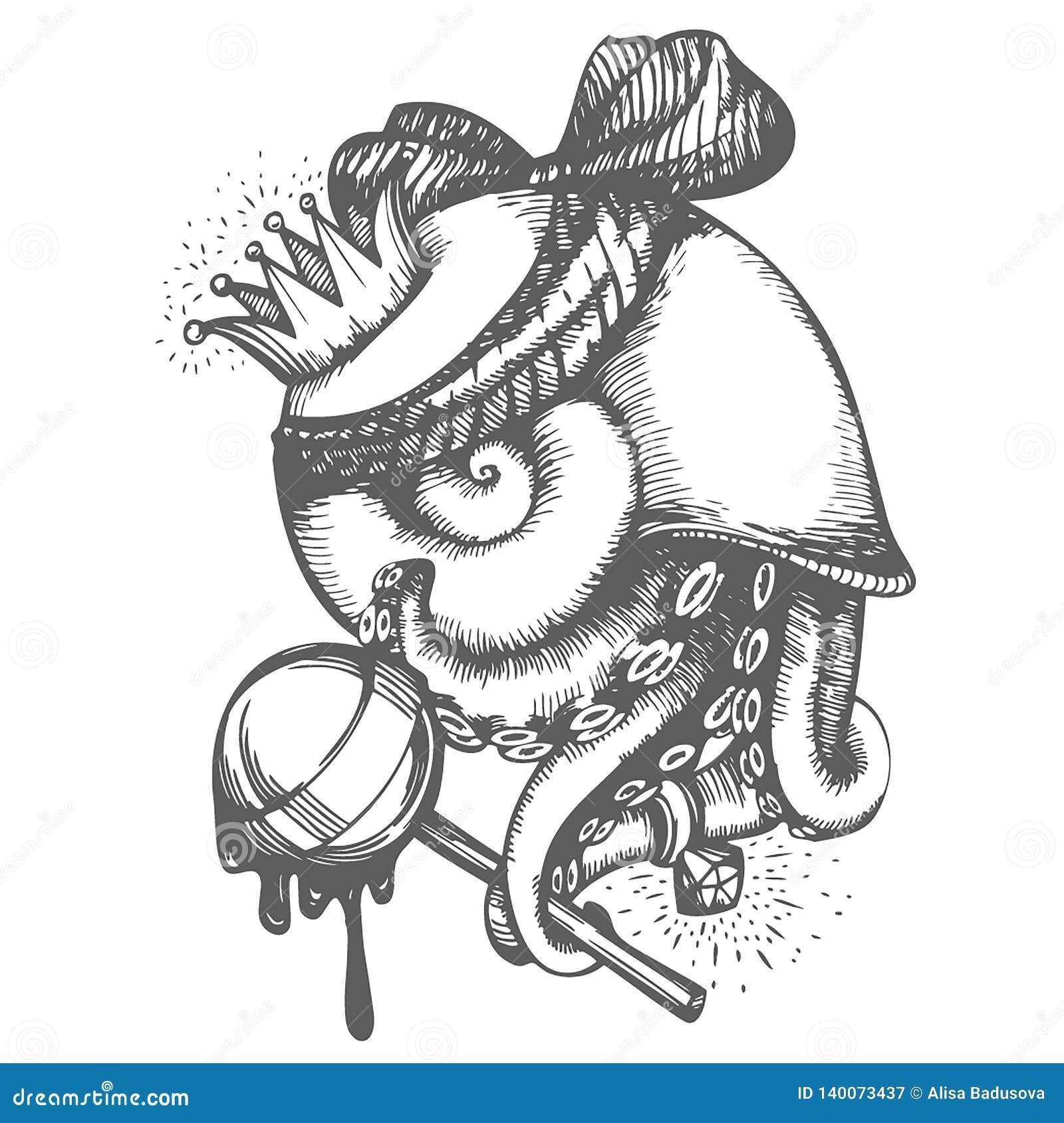 Διανυσματικό συρμένο χέρι σκίτσο της τυπωμένης ύλης με την απεικόνιση σαλιγκαριών χταποδιών στο άσπρο υπόβαθρο