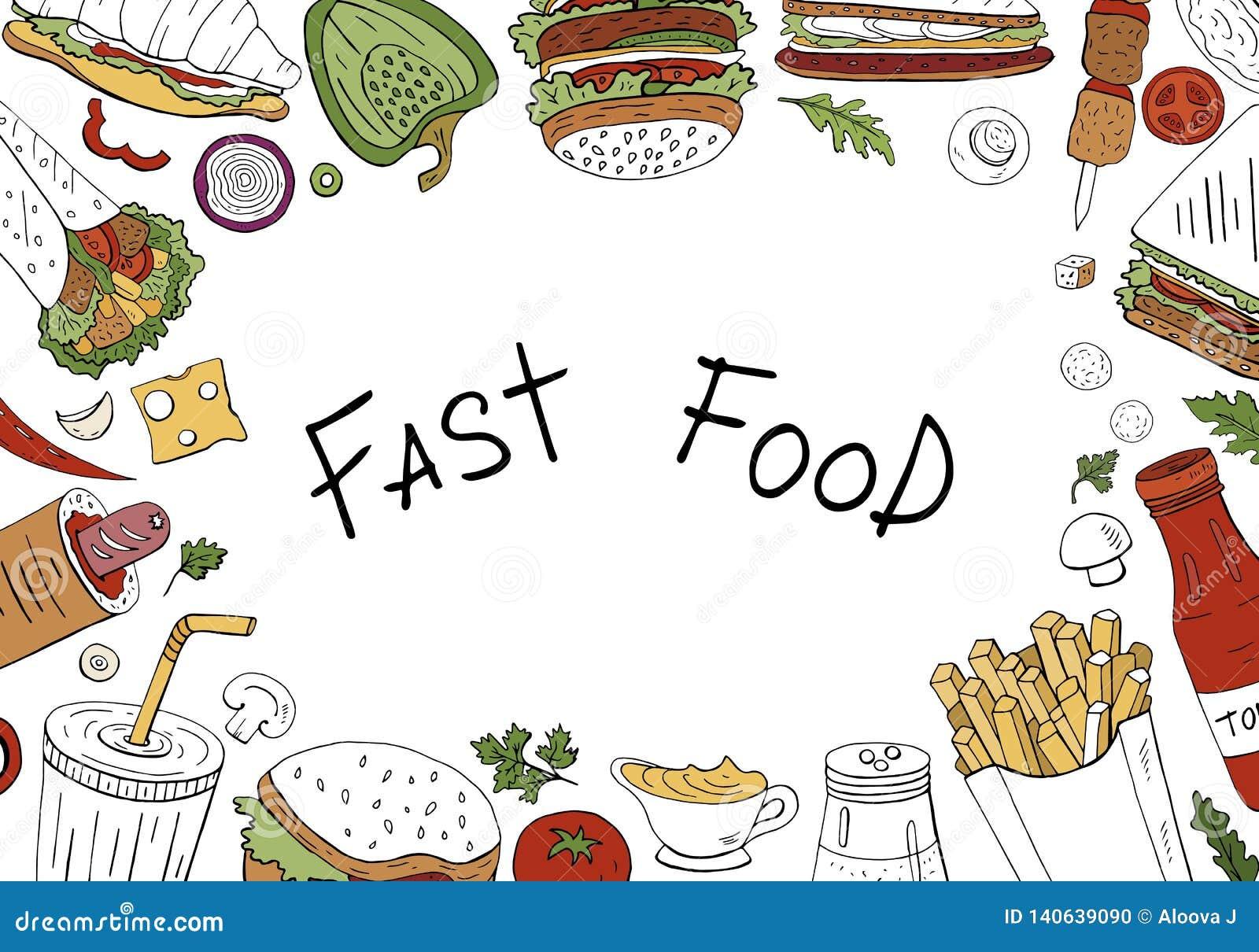 Διανυσματικό υπόβαθρο γρήγορου φαγητού, τοπ άποψη στο άσπρο υπόβαθρο με το διάστημα για το κείμενο Συρμένη χέρι συλλογή γρήγορου