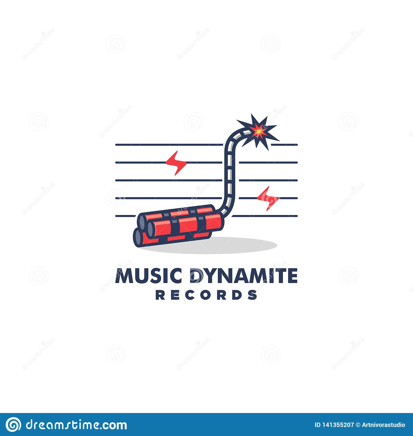 Διανυσματικό πρότυπο απεικόνισης έννοιας σχεδίου δυναμίτη μουσικής