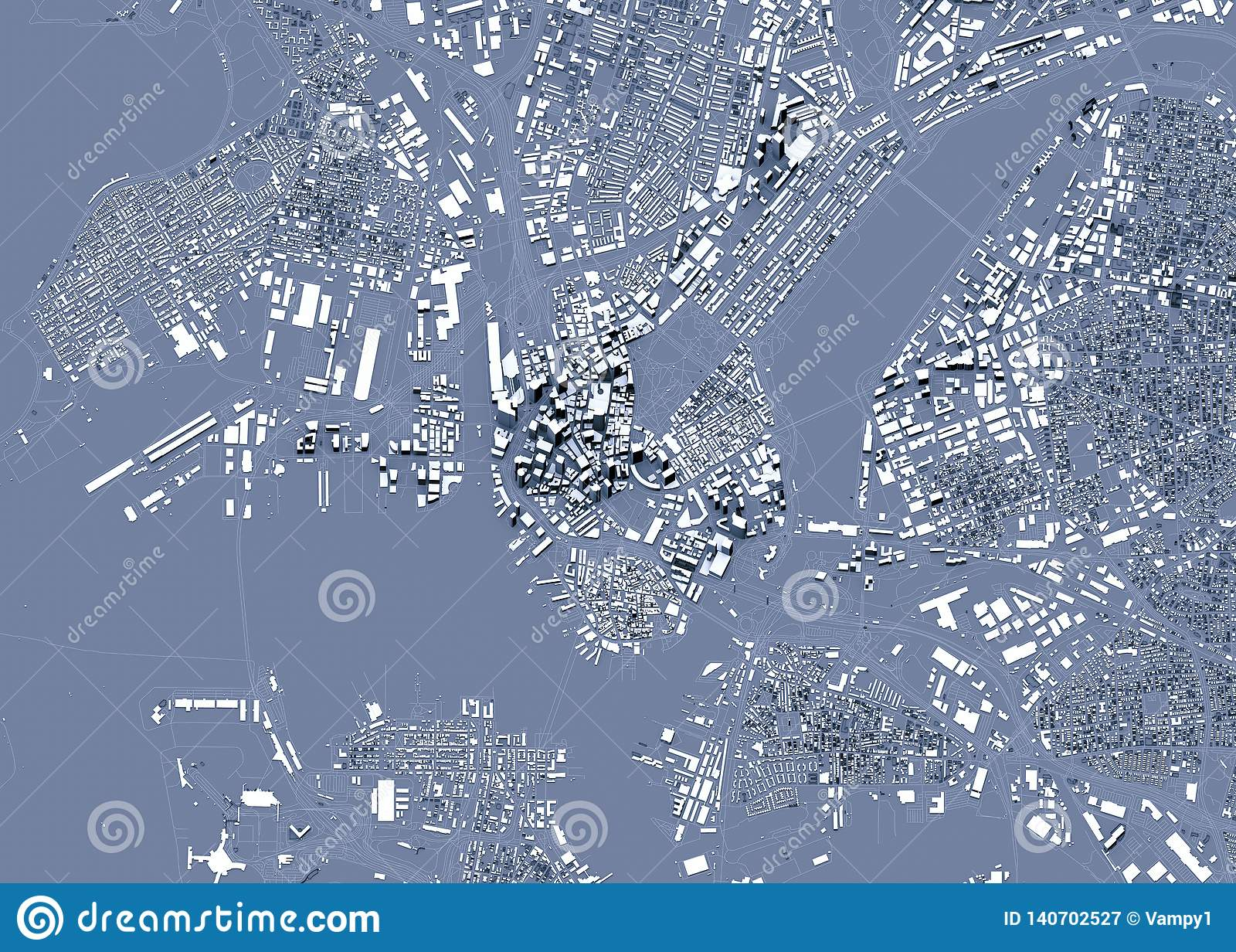 Δορυφορική άποψη της Βοστώνης, του χάρτη της πόλης με το σπίτι και της οικοδόμησης ουρανοξύστες Μασαχουσέτη ΗΠΑ