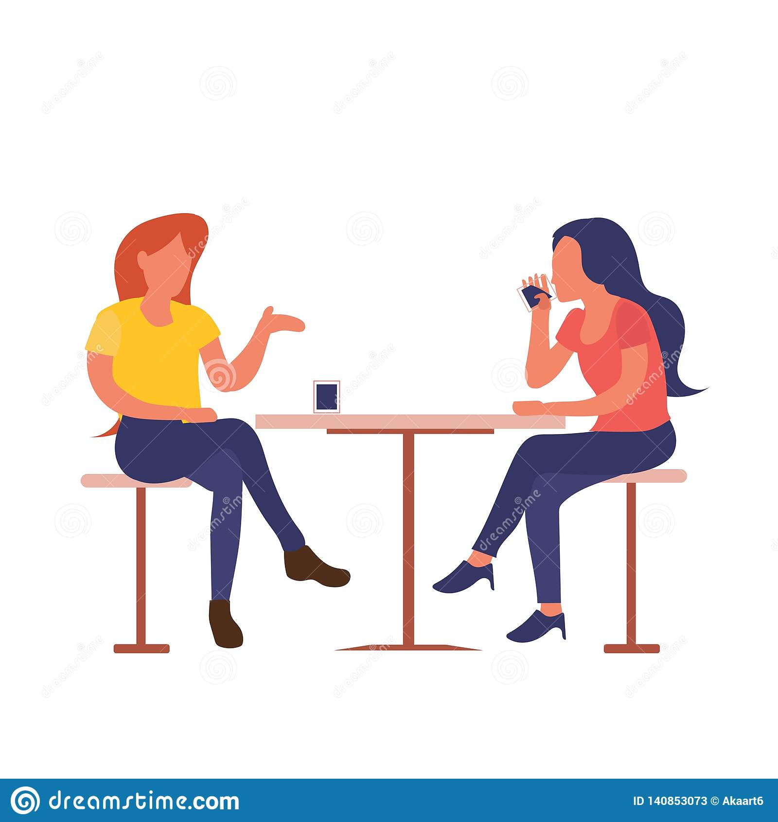 Δύο κορίτσια που κάθονται στον καφέ πίνουν τον καφέ μιλώντας το επίπεδο σχέδιο που απομονώνεται