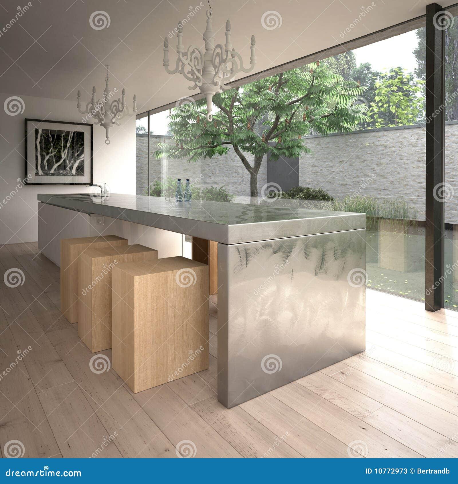 Île de cuisine en acier moderne