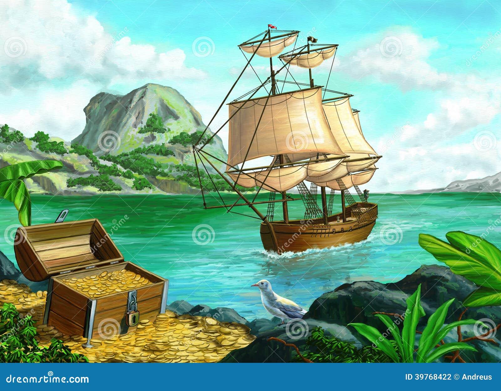 Île De Pirate Illustration Stock. Illustration Du Paume
