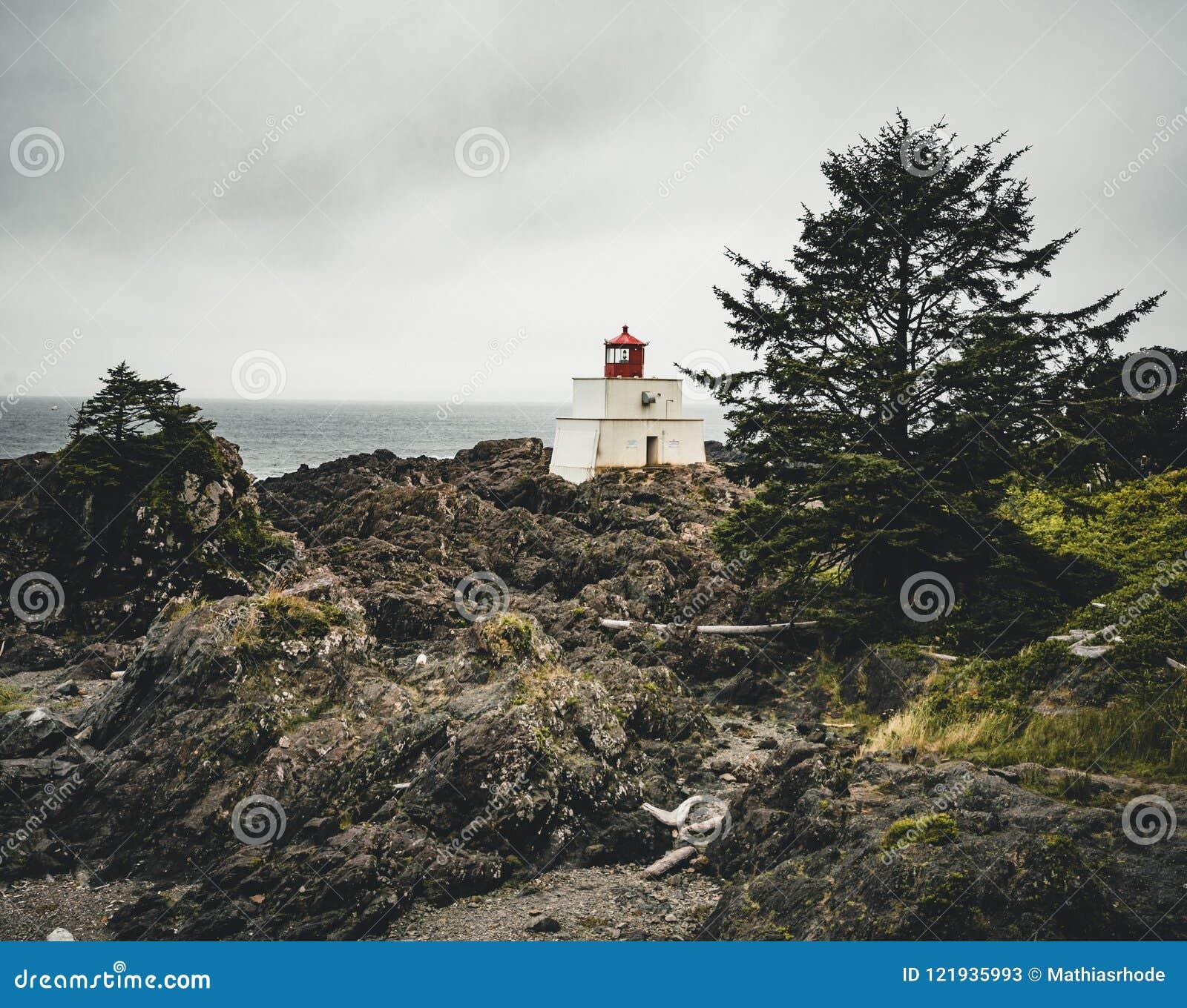 Île de Vancouver de côte ouest de phare près de Canada de Colombie-Britannique d Ucluelet sur la traînée Pacifique sauvage