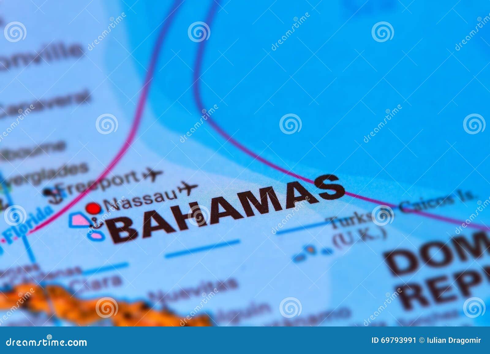 Île des Caraïbes des Bahamas sur la carte