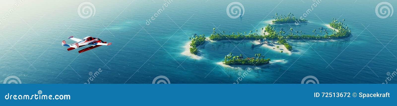 Île tropicale d été Petit avion de mer volant à l île tropicale de paradis privé sous forme de signe d infini