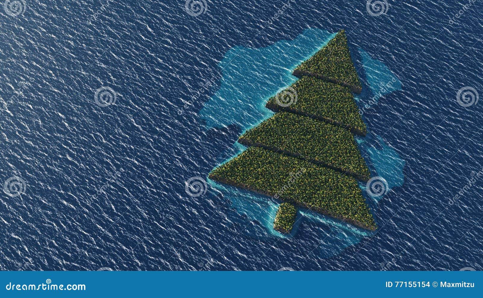 Île tropicale en forme d arbre de Noël